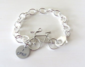 Spinning Cycling Biking Bicycle Bracelet with Optional Hand Stamped Charm