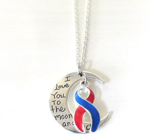 Red and Blue Awareness Ribbon I Love You To the Moon and Back Necklace You Select Chain Material and Length