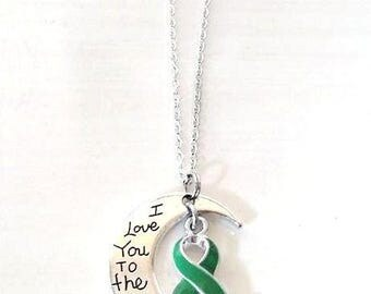 Green Awareness I Love You To the Moon and Back Necklace You Select Chain Material and Length
