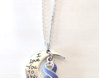 Periwinkle Awareness I Love You To the Moon and Back Necklace You Select Chain Material and Length