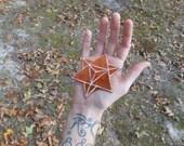 Sacred Geometry Patch, Merkaba Star, Brown Velvet and Pastel Rainbow, Iron On, Handmade with Love