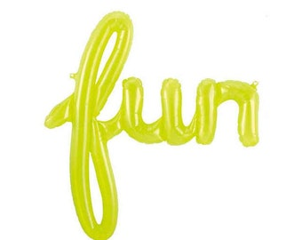 43in. Lime Translucent FUN Air-filled Mylar Balloon - Banner / Garland / Prop