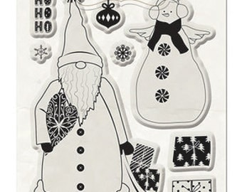 BoBunny Merry And Bright Collection Stamp set holly jolly