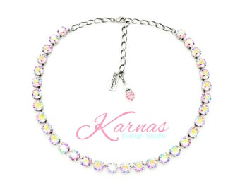 LIGHT ROSE AB 8mm Crystal Chaton Necklace Made With Swarovski Elements *Pick Your Finish *Karnas Design Studio *Free Shipping* Stunning!