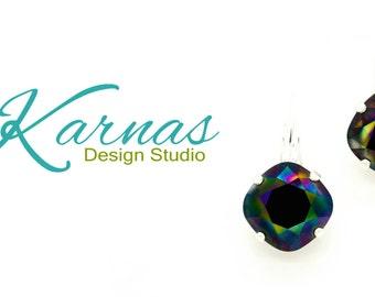 RAINBOW DARK 12mm Cushion Cut Drop Earrings Swarovski Crystal  *Pick Your Finish *Karnas Design Studio *Free Shipping*
