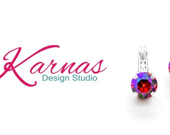 LIGHT SIAM GLACIER 8mm Crystal Chaton Drop or Stud Earrings  Swarovski Crystal *Pick Your Finish *Karnas Design Studio *Free Shipping