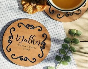 Personalized Coasters, Custom Coasters, Lacquered Wood Coaster, Monogram Coaster, Inexpensive ...