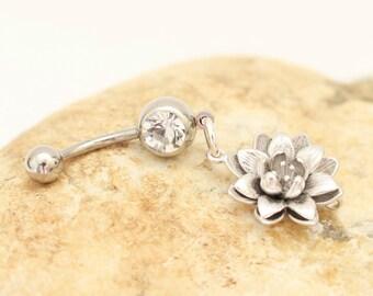 Lotus Belly Ring, Body Piercing, Navel Jewelry, Body Jewelry, Flower Belly Ring, Lotus Body Jewelry, Belly Ring Flower, Bodykandie, Lotus