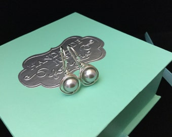 Sterling Swarovski Crystal Pearl Earrings