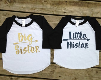 Big sister little mister shirt set, little mister shirt, big sister shirt, sibling shirt sets, sister and brother shirts