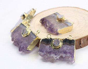 SALE Double Bail Amethyst Druzy Slice Pendants -- With Electroplated Gold Edge Charms Wholesale Supplies MHA-007,YHA-105