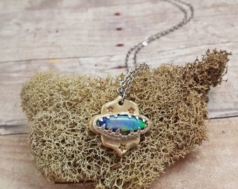 Sterling Opal Necklace with Stars..............................................................................green blue purple boho hippie