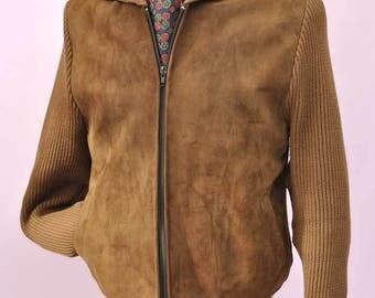 Vintage 70s Glenhusky Suede Front Zipped Cardigan Bomber Jacket