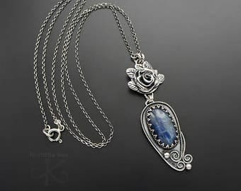 Memories of silence - a silver necklace with kyanite and rose, fine jewelry, for her
