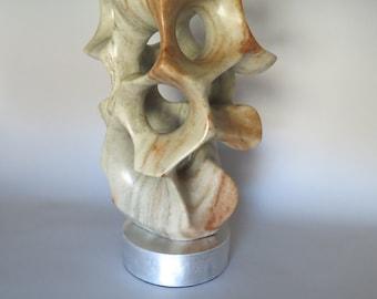 Alabaster Sculpture Moss Green Natural Stone Sculpture Original One-of-a-kind Handmade Art