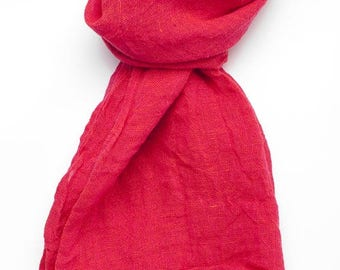 Red 100% linen scarf, linen scarf, flax scarf, spring scarf, spring scarf, linen shawl, red shawl, linen wrap, red scarf, red unisex scarf
