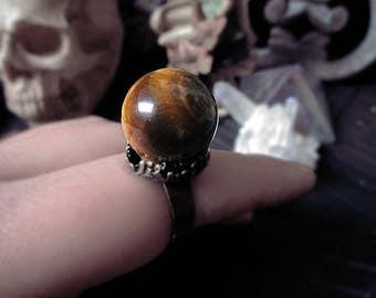 Crystal Ball Ring, Tiger Eye Crystal Ring, Vintage Ring, Fairy Ring, Adjustable Ring, Occult Ring