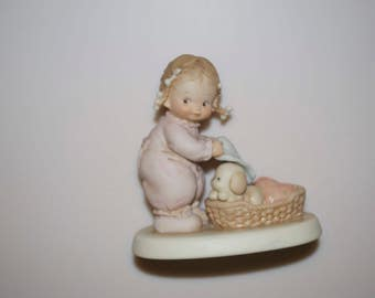"""Little Girl with Dog Enesco Figurine """"He Knows If You've Been Bad or Good"""" Memories of Yesterday by Mabel Lucie Atwell 1988"""