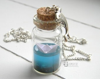 Flask with paper boat in the sea, origami, paper boat, Sea, Ocean, sea in the bottle, Necklace, necklace