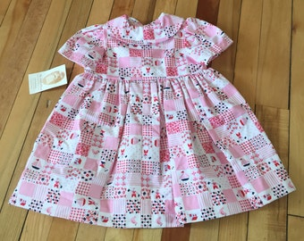 Baby Infant Girls Handmade Pink Patchwork Floral Dress! Size 6 months