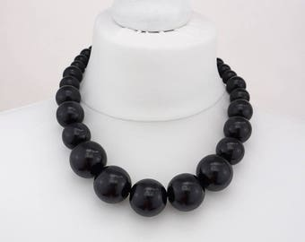 Black Chunky Necklace | Black Wooden Bead Necklace | Black Statement necklace