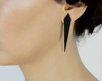 Long Black post earrings, Geometric black studs, Laser cut Plexiglass, Pointy Spike earrings, Goth earrings, Statement earring, Long studs
