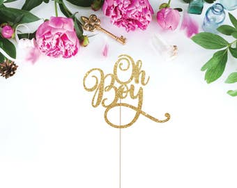 Oh Boy Cake Topper Baby Shower Cake Topper Glittery Oh Boy