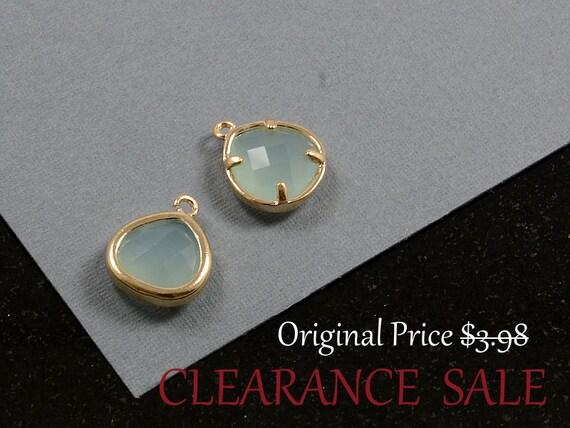 SALE - Green Opal / Mint Color Framed Glass Bezel Teardrop/ Triangle Charm Pendant 10mm x 13mm in Gold Plating - 2 pcs/ order