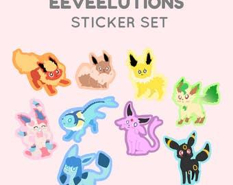 Chibi pokemon eeveelution sticker pack featuring kawaii eevee, jolteon, vaporeon, leafeon, glaceon, umbreon, espeon and slyveon!