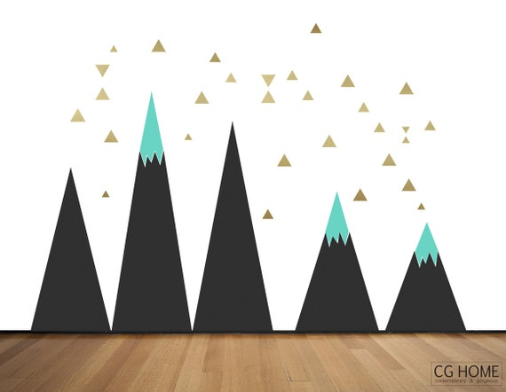 Black Scandinavian Mountain Wall Art Gold Triangle Black Pattern Headboard MOUNTAIN for kids big wall washable decal CGhome