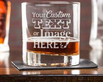 Whiskey Glass, Personalized Gift, Custom Whiskey Glass, Etched Cocktail Glass, Gift For Him, Scotch Glass, Corporate Gift, Bar Whiskey Glass