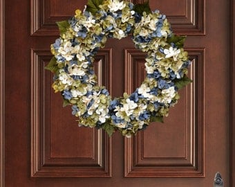 Beautiful Blended Blue Cream Green Hydrangea Wreath | Summer Door Wreath | Front Door Wreaths | Outdoor Wreaths | Summer Wreath | Door Decor