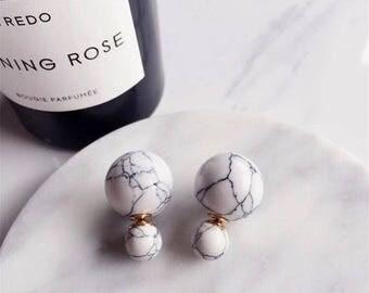 Marble Balls Earrings / Ear Jackets - White