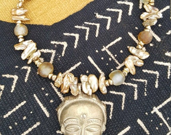 African Brass Mask with Freshwater Pearls and Citrine Necklace
