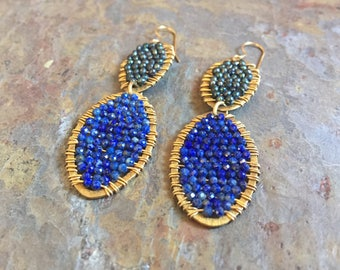 Gold hoop statement earrings with lapis gemstones and freshwater pearls