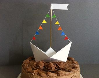 Sail Boat Cake Topper / Origami Cake Topper / Nursery Boat Decor / Party Table Decoration / Sea Room Decor / Nautical Theme / Nautical Decor