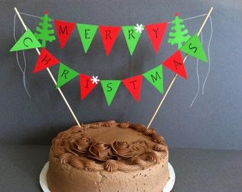 Merry Christmas Cake Topper / Christmas Topper / Cake Bunting / Pie Topper / Dessert Topper / Holiday Decor / Christmas Banner