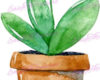 Digital Download Clipart – Garden Potted Plant JPEG and PNG files