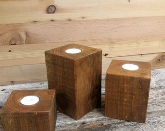 Reclaimed Wood Beam Candle Holders - Three Piece Set of Tea Light Votives