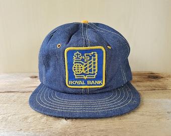ROYAL BANK Vintage 80s Denim Trucker Snapback Hat Adjustable Jean Cap Promo Wear Canada Banking Financial Institution Ballcap