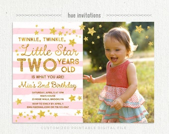 twinkle twinkle little star birthday invitation for girl with photo, pink gold glitter 2nd birthday invitation, stars stripes digital file