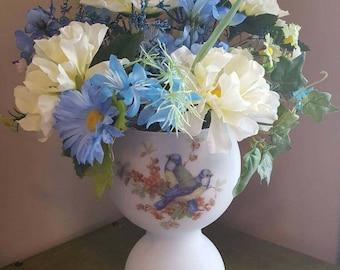 Silk Floral Arrangement, Blue & Yellow Flowers, Bird Vase, Faux Flower Arrangement, Soft Yellow Flowers, Home Decor, Tabletop Arrangement