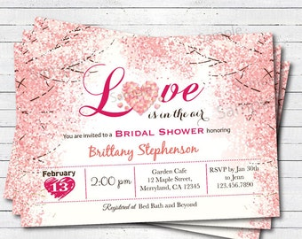 Valentine Bridal Shower invitation. Love is in the air pink floral engagement party cherry blossom digital invitation. VBS02