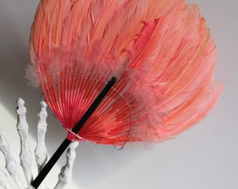 30's Pink Feather Hand Fan