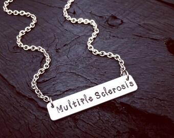 Multiple Sclerosis Medical Alert Bar Necklace | Multiple Sclerosis Jewelry | Multiple Sclerosis Diagnosis Gift | MS Medical Alert Jewelry