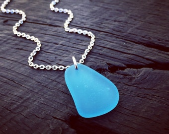 Pacific Blue Sea Glass Pendant Necklace | Sea Glass Jewelry | Jewelry Gift For Sea Glass Lover | Beach Lover Gift | Nautical Jewelry Gift