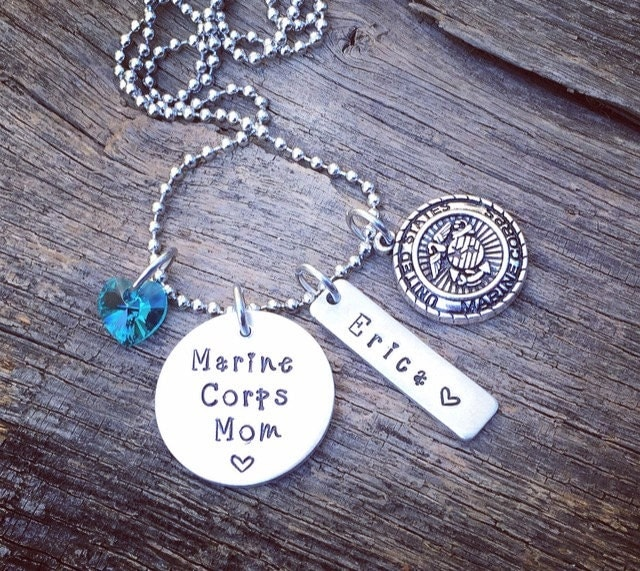 marine corps mom necklace marine mom jewelry by. Black Bedroom Furniture Sets. Home Design Ideas