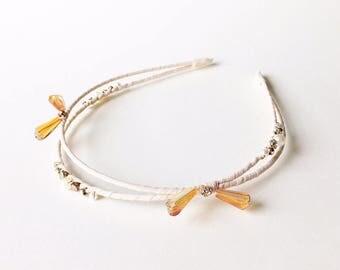Nora Headband - Cream headband - Beaded headband - Goddess headband - Double Strand Headband - Adult headband - Light Beige Headband