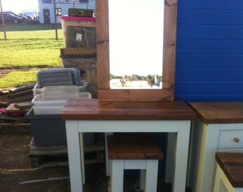 Chunky rustic dressing table, stool and mirror painted