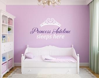 Princess Name - Princess Decal - Princess Decor - Princess Name Decal - Girls Nursery Ideas - Princess Sleeps Here - Little Girls Room Decor